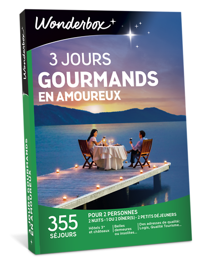 coffret cadeau 3 jours gourmands en amoureux wonderbox. Black Bedroom Furniture Sets. Home Design Ideas