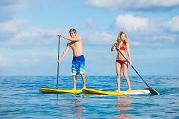 Balade en stand up paddle en groupe - Pirogue & Surf - Port Castera (64)